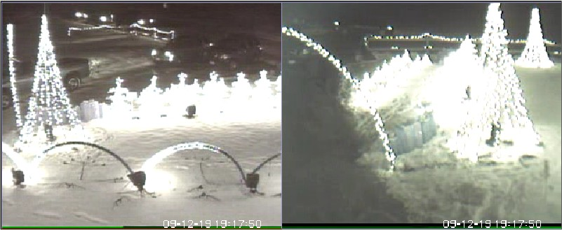 Traffic as recorded by two of the many security cameras onsite.